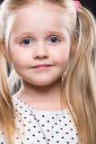 Mała dziewczynka zamknięty up portret Obrazy Royalty Free