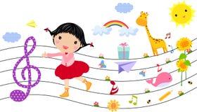 mała dziewczyny muzyka ilustracji