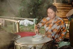 Mała fabryka ryżowi noddles dla wietnamczyka jedzenia Obraz Royalty Free