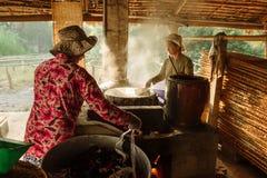 Mała fabryka ryżowi noddles dla wietnamczyka jedzenia Zdjęcia Stock