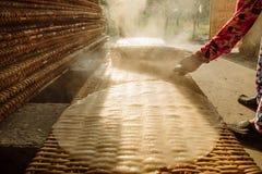 Mała fabryka ryżowi noddles dla wietnamczyka jedzenia Zdjęcie Stock
