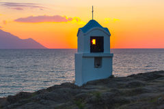Mała grecka kaplica Athos przy, góra i obrazy stock