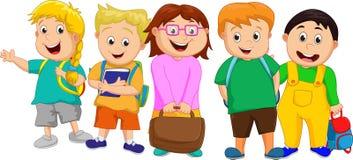Mała grupa dzieciaki Iść szkoła royalty ilustracja