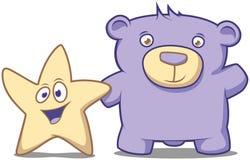 Mała gwiazda i jego przyjaciela niedźwiedź Obrazy Royalty Free