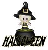 mała Halloween śliczna czarownica Zdjęcia Royalty Free