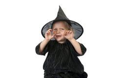 Mała Halloween czarownica na białym tle Zdjęcia Stock