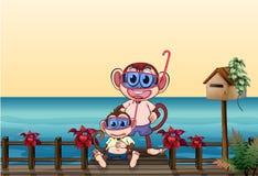 Mała i duża małpa przy mostem ilustracja wektor