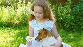 Mała kędzierzawa dziewczyna bawić się z dźwigarki Russell psem zdjęcie wideo