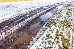Mała kałuża na drodze, odbicie w wodzie blisko łąki Śnieg i zima zdjęcie stock