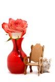 mała mysz czerwona róża Obrazy Royalty Free