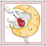 Mała mysz na księżyc bawić się gitarę Fotografia Royalty Free