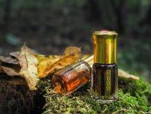 Mała nieotwarta butelka z zawartość na zielonym naturalnym tle Mała butelka agarwood olej przy naturalnym zielonym backgroun Zdjęcia Stock