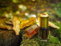 Mała nieotwarta butelka z zawartość na zielonym naturalnym tle Mała butelka agarwood olej przy naturalnym zielonym backgroun Zdjęcia Royalty Free