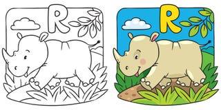 Mała nosorożec kolorystyki książka alfabet r Zdjęcie Stock