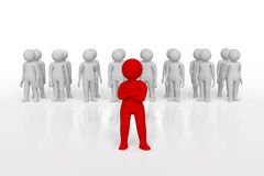 Mała osoba lider drużyna przydzielająca z czerwonym colour świadczenia 3 d Odosobniony biały tło Obrazy Stock