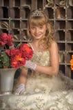 Mała panna młoda z tiarą zdjęcia stock
