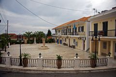 Mała pedastrian strefa na Zakynthos wyspie w Grecja obrazy royalty free