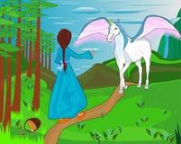 Mała piękna dziewczyna spotyka jednorożec ilustracja wektor