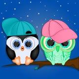 Mała pingwinu i sowy kreskówka zdjęcie royalty free