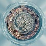 Mała planeta 360 stopni sfera Panorama stary port Marseille ilustracja wektor