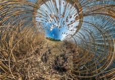 Mała planety transformacja z kabłąkowatością przestrzeń Bańczasta anteny 360 widoku panorama na brzeg jezioro z gąszczami obraz royalty free