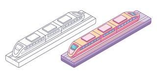 Mała pociąg zabawka na śladzie ilustracji