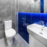 Mała popielata i błękitna łazienka fotografia stock