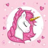 Mała różowa jednorożec ilustracja wektor