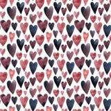 Mała różowa purpurowa i błękitna serce akwarela royalty ilustracja