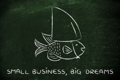 Mała ryba jest ubranym sfałszowanego rekinu żebro, pojęcie mieć dużego sen Obraz Stock