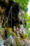 Mała rzeka w głębokich lasów zwrotach w powabną siklawę Zdjęcia Royalty Free