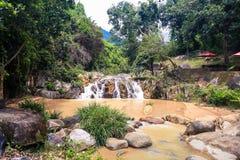 Mała siklawa wśród kamieni w Tropikalnym parku Zdjęcia Stock