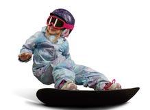 Mała snowboarder dziewczyna odizolowywająca Fotografia Stock