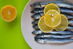 Mała srebna ryba z plasterkami cytryny kłamstwo w talerzu na zielonym tle fotografia royalty free