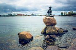 Mała Syrenka, Kopenhaga, Dani fotografia royalty free