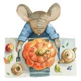 Mała szara mysz w niebieskiej marynarce siedzi stół royalty ilustracja