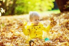 Mała szczęśliwa chłopiec w żółtej kurtce bawić się z liśćmi Obraz Stock
