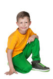 Mała uśmiechnięta blond chłopiec Fotografia Royalty Free