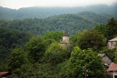 Mała wioska między górami w Armenia Obraz Stock