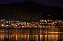 Mała wioska w Norway przy nocą Zdjęcia Royalty Free