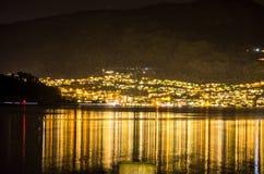 Mała wioska w Norway przy nocą Zdjęcie Royalty Free