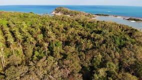 Mała wyspa i rafa koralowa w oceanie Trutnia widok zielona bezludna wyspa i zadziwiająca rafa koralowa w spokojnym morzu na pogod zbiory