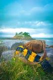 Mała wyspa w Brittany Francja z brezentową torbą jpg Fotografia Royalty Free