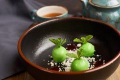 Mała zieleń glazurująca jabłko pustynia Zdjęcie Royalty Free