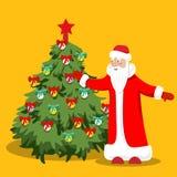 Mała zielona choinka jaskrawy dekoruje z balonami i miłym Święty Mikołaj Ilustracja w mieszkanie stylu ilustracja wektor