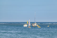 Małe Łódki przy oceanem Porto Galinhas Brazylia Fotografia Stock