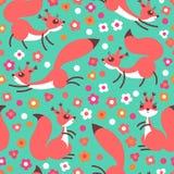 Małe śliczne wiewiórki na kwiatach łąkowych Bezszwowy wiosny lub lata wzór dla prezenta opakowania, tapeta, children pokój royalty ilustracja