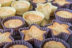 Małe babeczki od słodkiego kokosowego ciasta jako tło zdjęcia stock