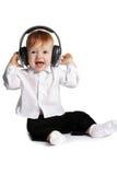 małe chłopiec słuchawki obraz royalty free