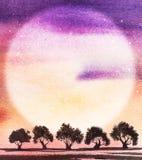 Małe ciemne sylwetki drzewa przeciw tłu menchia p ilustracja wektor